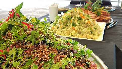 Buffet dinner with salads from Fresh Balance Catering